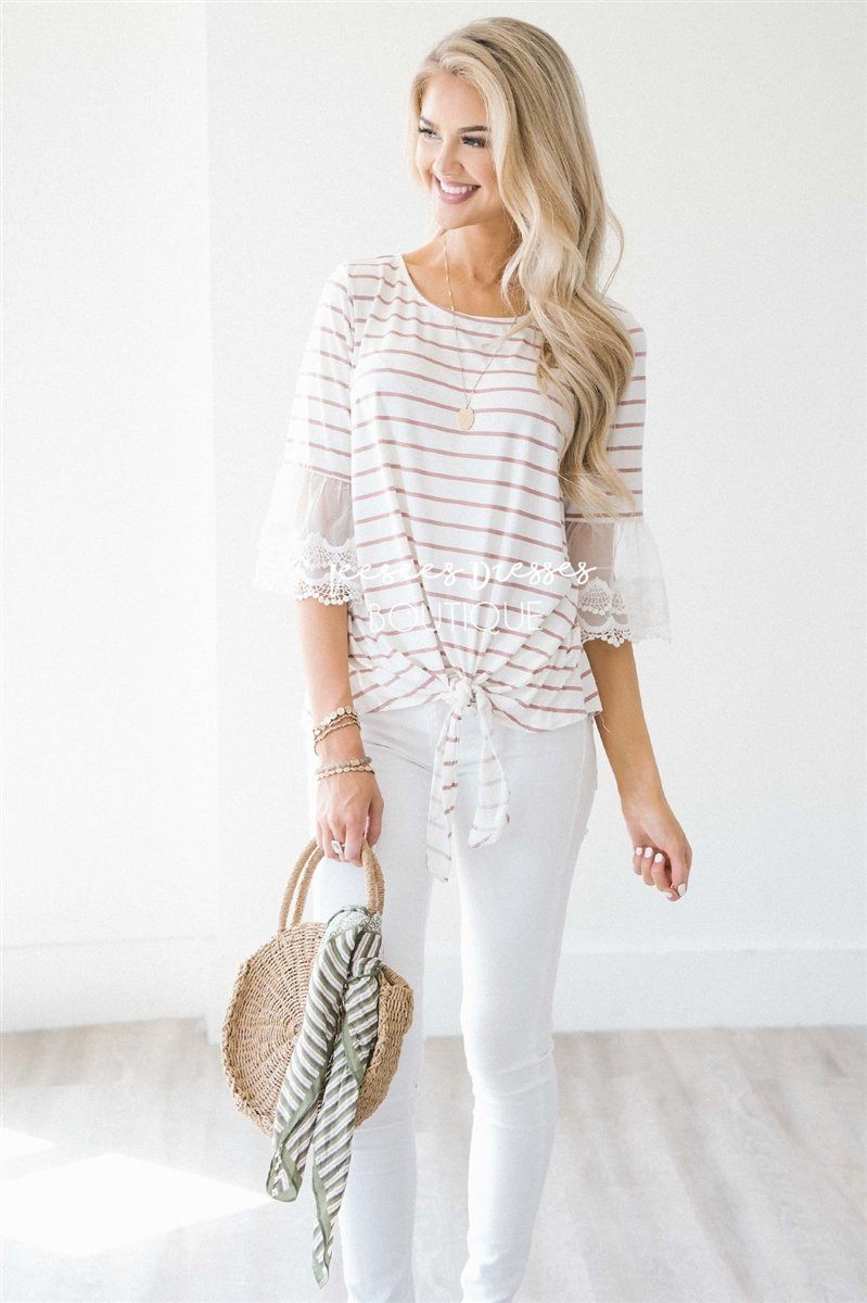 82e529c417fddf Lace Bell Sleeve Tie Front Top Tops vendor-unknown Dusty Pink & Ivory  Stripes S