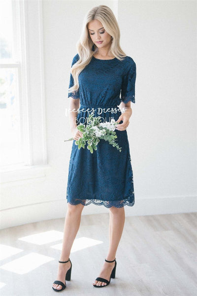 Navy Scallop Lace Dress Modest Dresses vendor-unknown Navy S