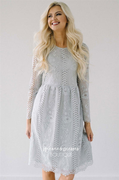 Love At First Sight Light Silver Lace Dress