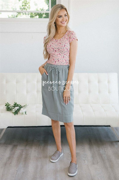 Casual Drawstring Waist Skirt