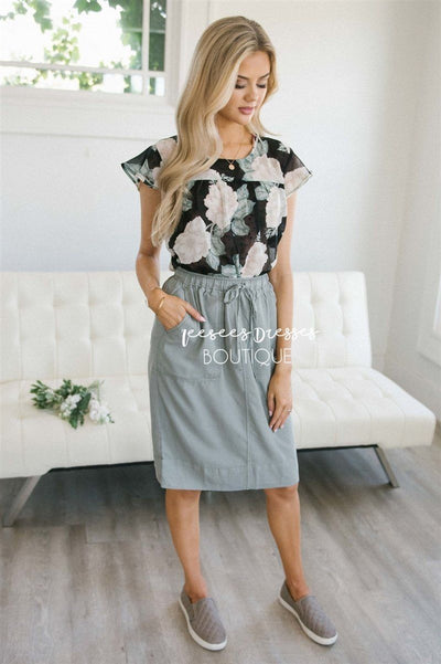 Casual Drawstring Waist Skirt Skirts vendor-unknown XS Faded Sage