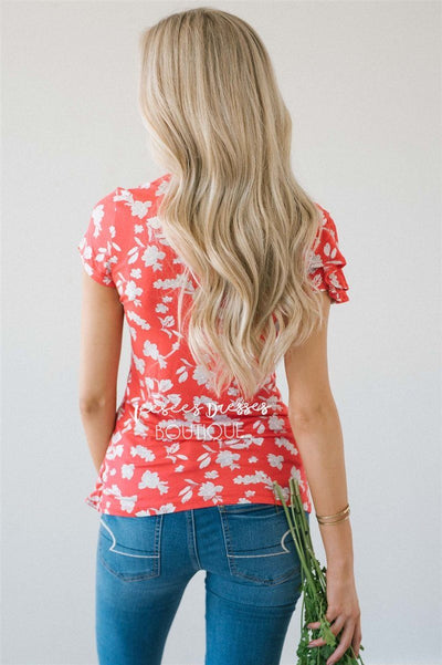 Asymmetric Ruffle Front Floral Top Tops vendor-unknown