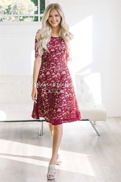 The Sloan Modest Dresses vendor-unknown Burgundy XS