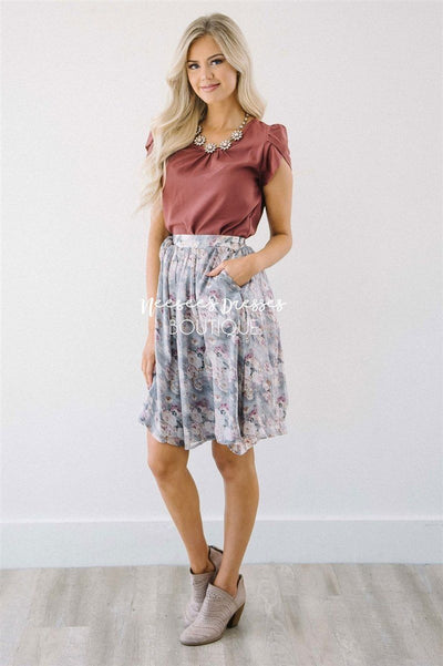 Burnt Mauve Chiffon Top Tops vendor-unknown