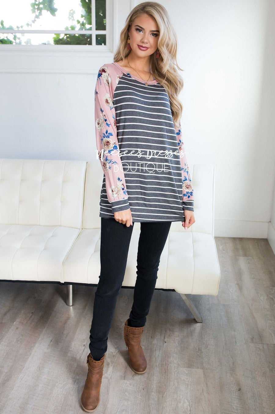 Floral Sleeve & Striped Top