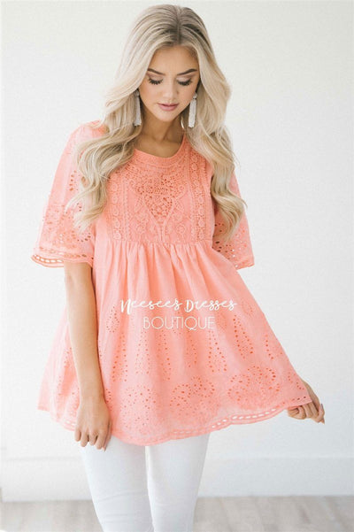 Baby Doll Eyelet Embroidered Top Tops vendor-unknown