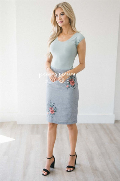 Gingham Floral Embroidered Pencil Skirt Skirts vendor-unknown XS Gingham Black Print