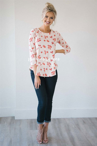 Light Up Pink Floral Top Tops vendor-unknown