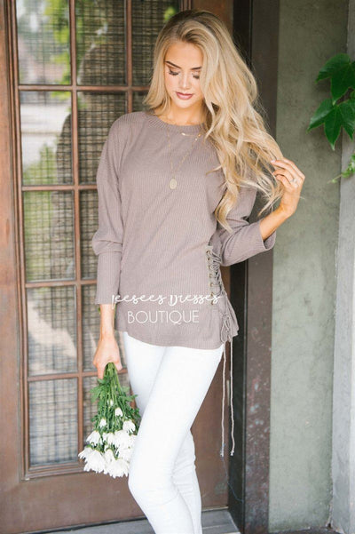 Side Lace Up Sweater Tops vendor-unknown Taupe S