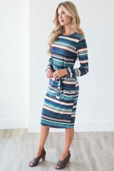 The Becca Tie Waist Sweater Dress Modest Dresses vendor-unknown