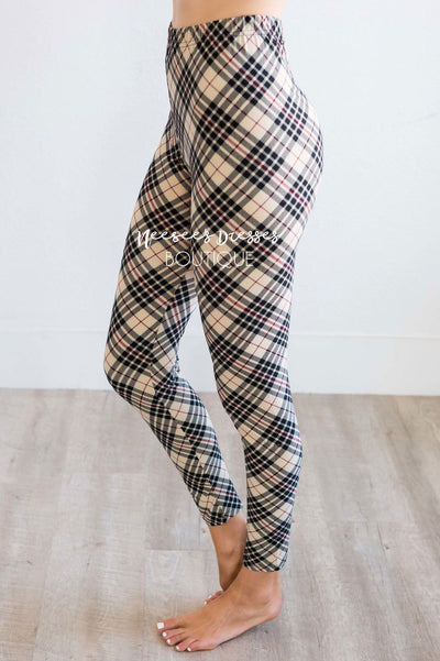 Beige Black & Burgundy Plaid Leggings
