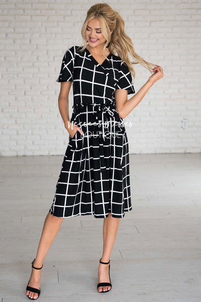 The Moxie Grid Print Dress Modest Dresses vendor-unknown