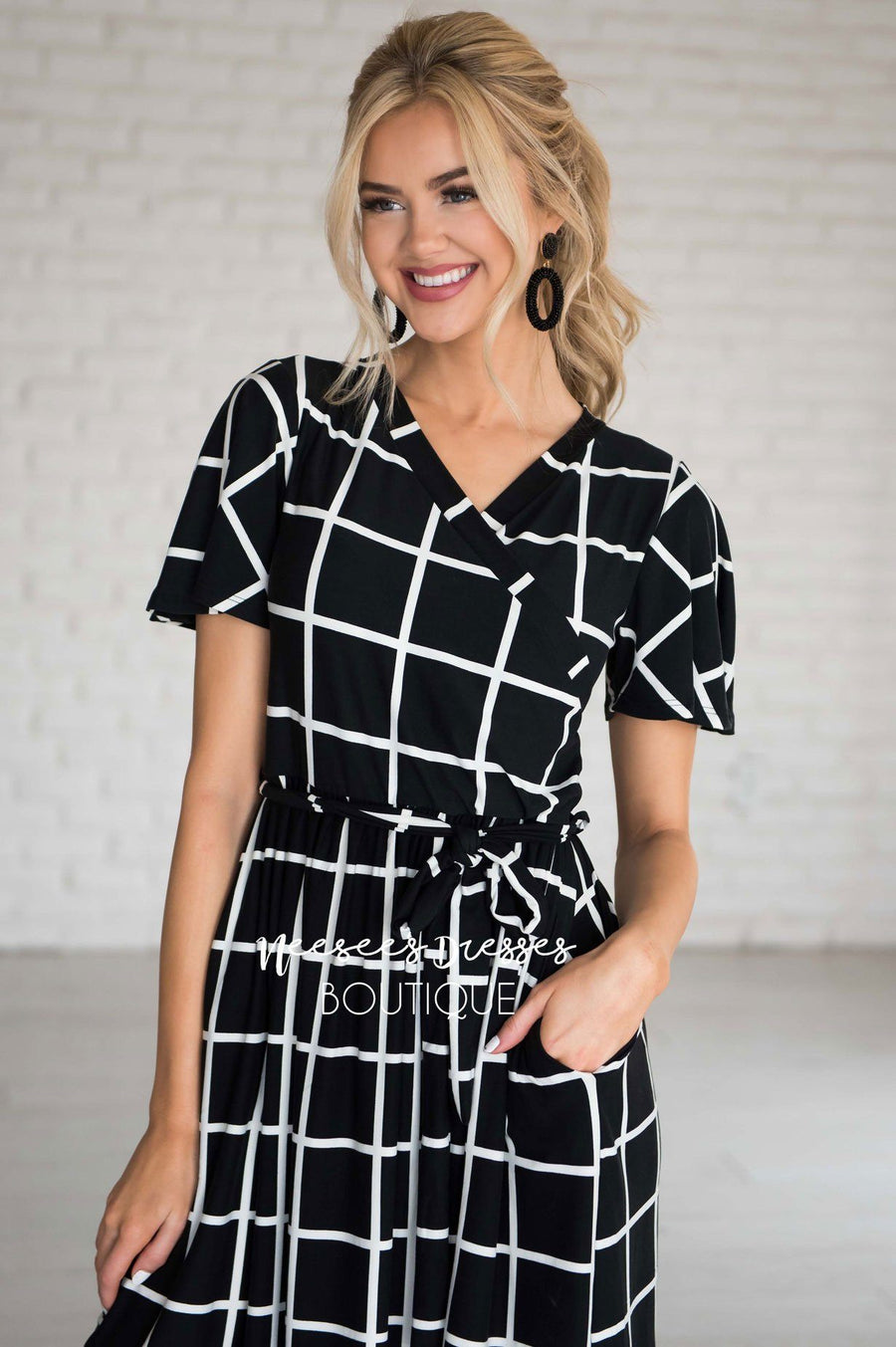 The Moxie Grid Print Dress
