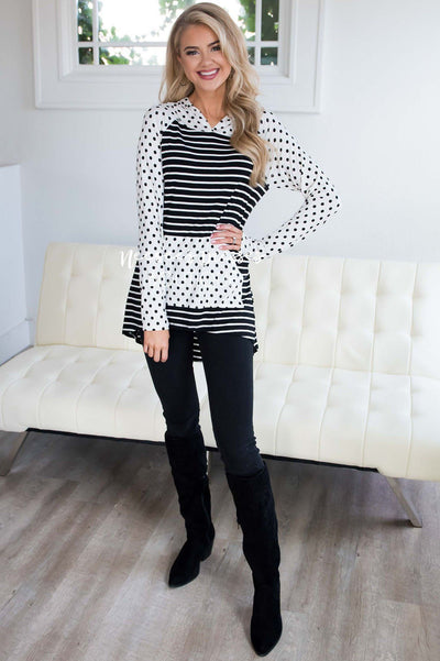 Striped Polka Dot Sleeve Hoodie Tops vendor-unknown