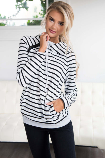 Shoulder Zip Pullover Hoodie Sweater Tops vendor-unknown