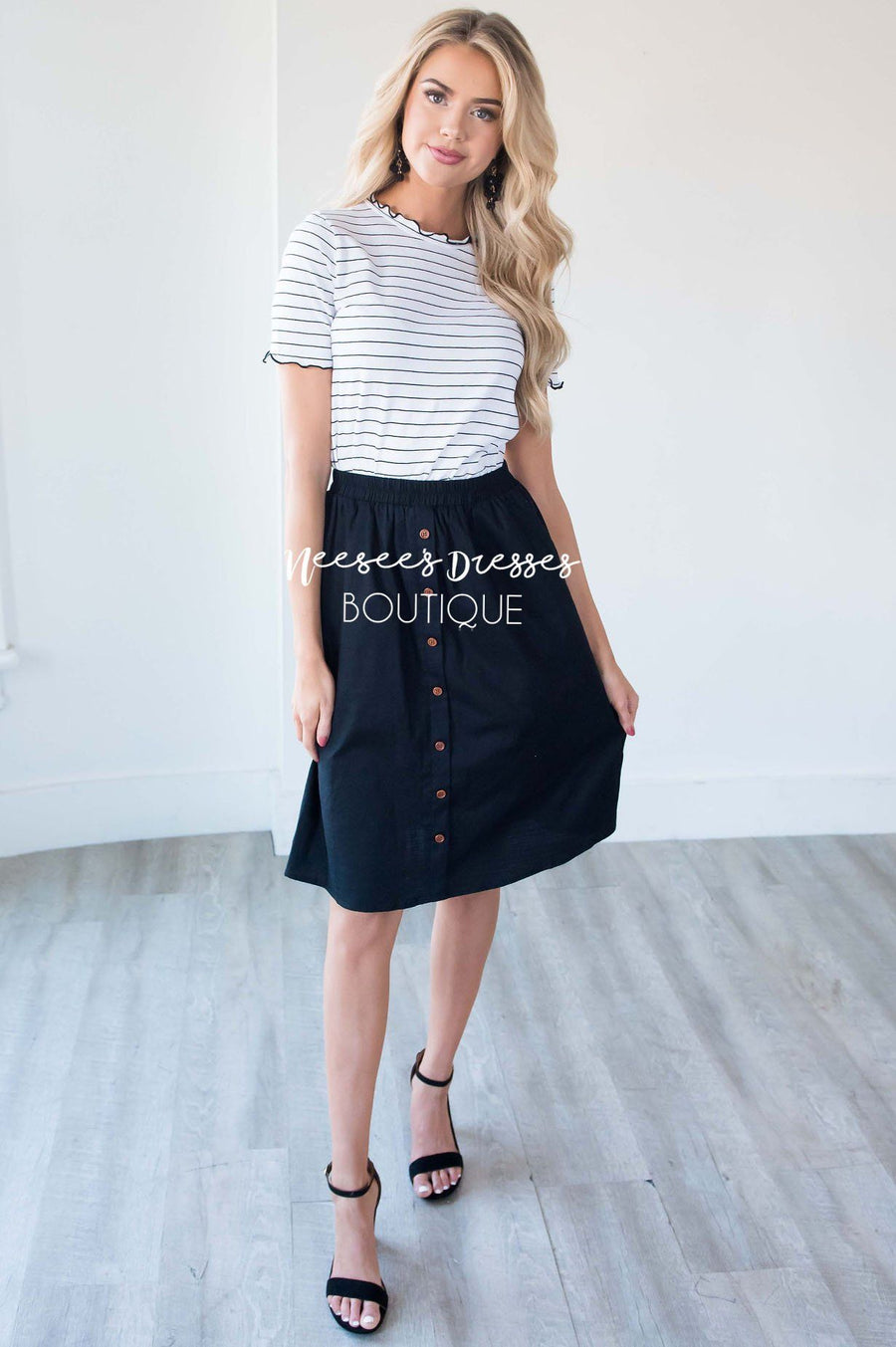 Black Button Detail Skirt
