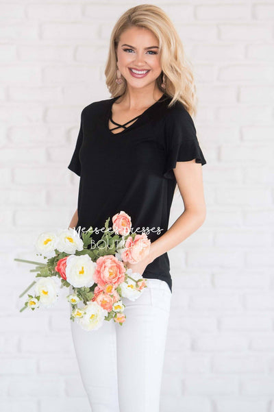Criss Cross Flutter Sleeve Top Tops vendor-unknown