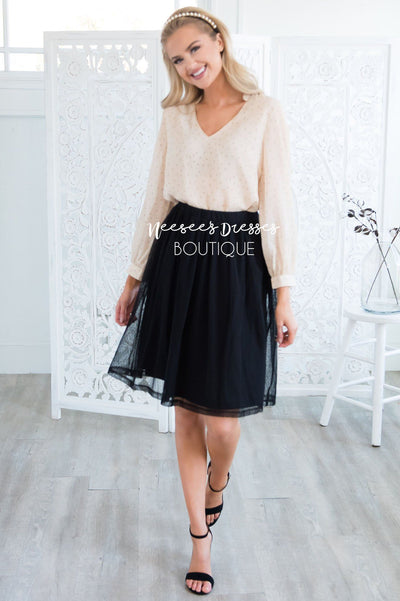 Black Dotted Tulle Skirt Skirts vendor-unknown