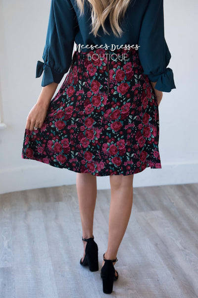 Confident Heart Floral Skirt Skirts vendor-unknown