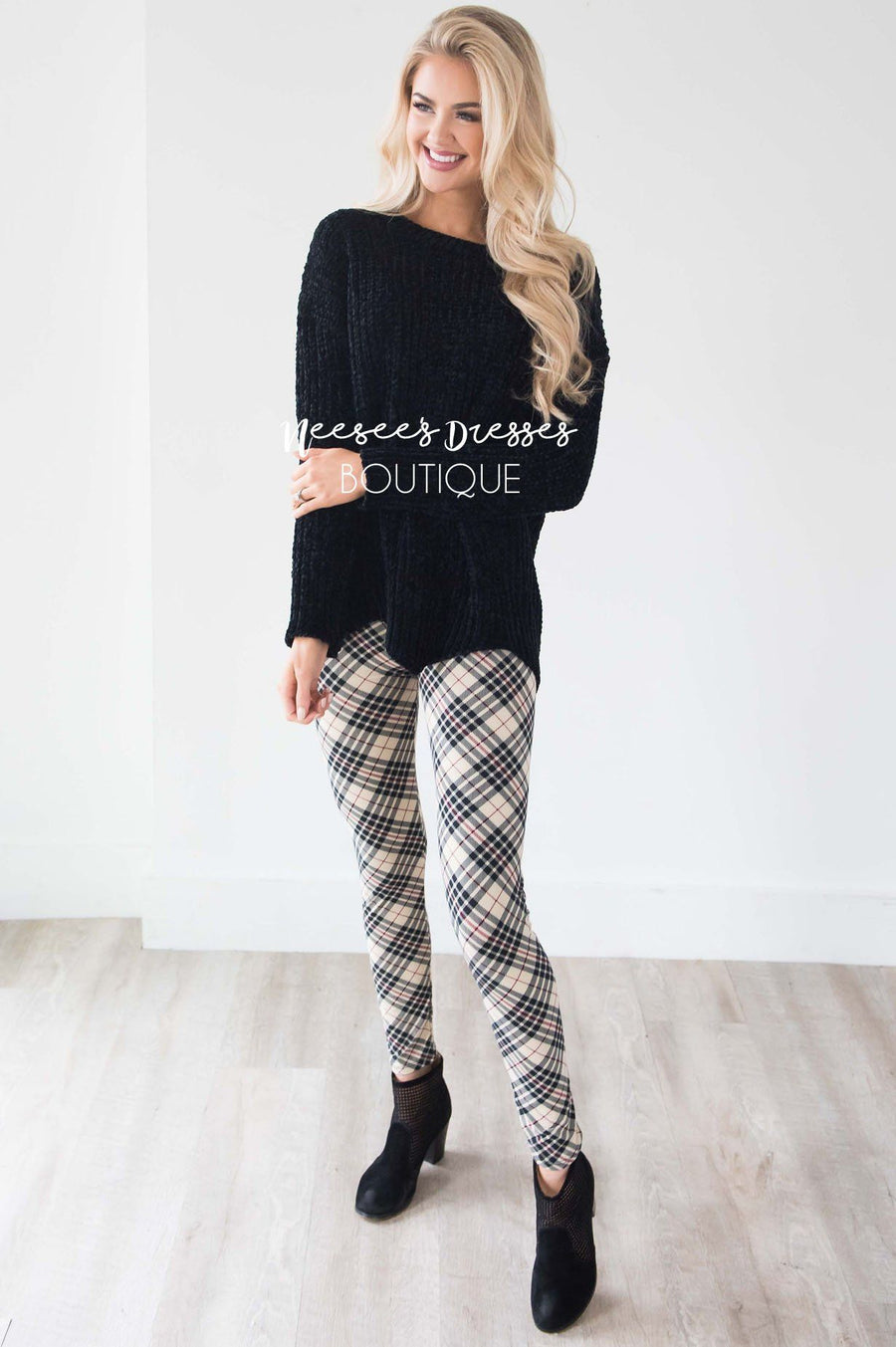 Beige Black & Burgundy Plaid Leggings Accessories & Shoes vendor-unknown