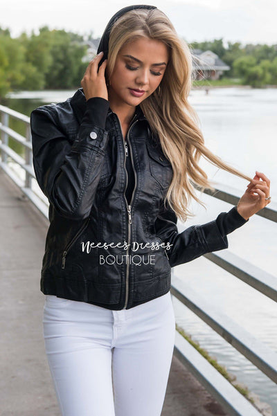 Chic Pleather Bomber Jacket Tops vendor-unknown