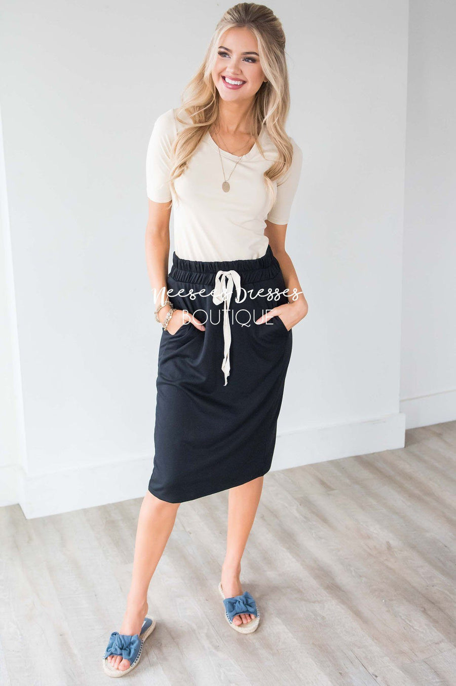 French Terry Drawstring Waist Skirt