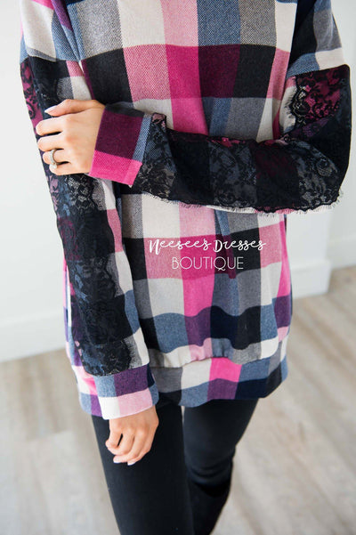Bright Pink & Black Plaid Lace Sleeve Sweater Tops vendor-unknown