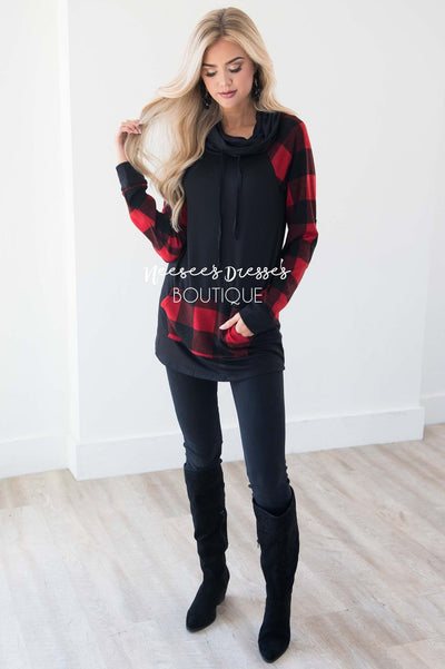 A Little Inspiration Plaid Elbow Patch Top Tops vendor-unknown