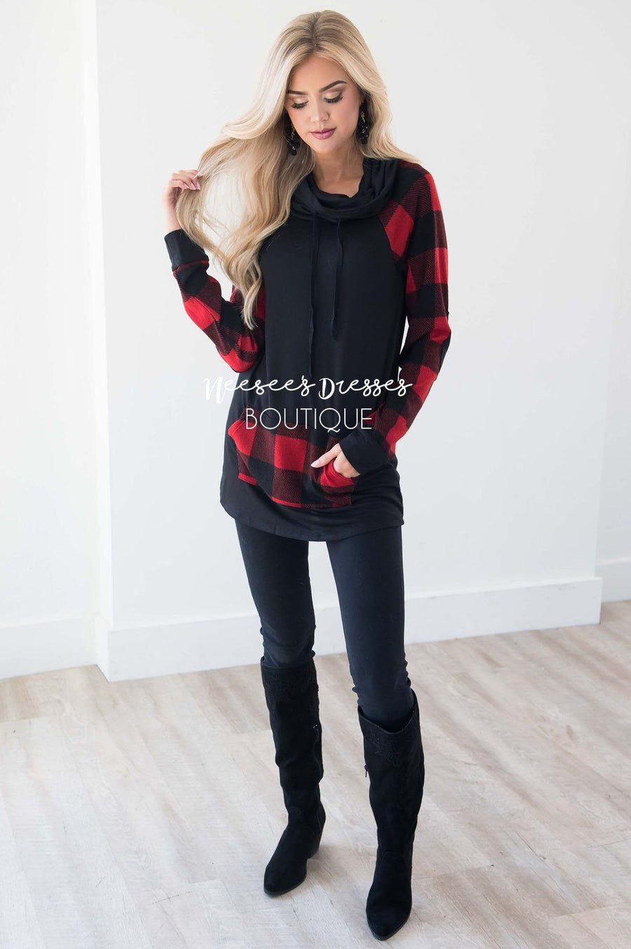 A Little Inspiration Plaid Elbow Patch Top
