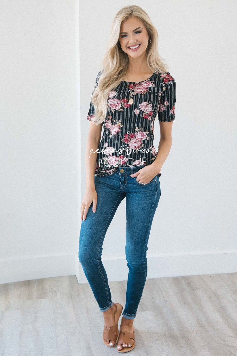 Black Pinstripe Floral Scoop Neck Top