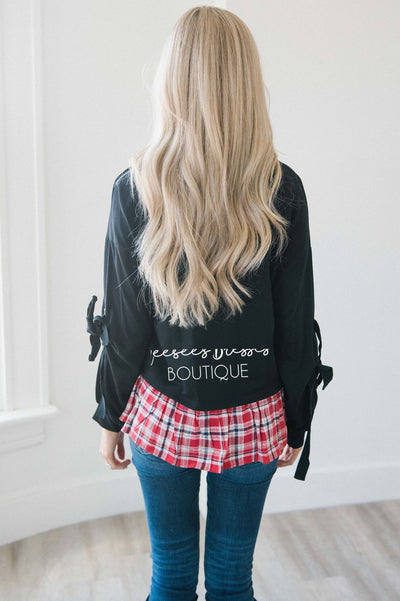 Tie Sleeve Plaid Ruffle Hem Sweater Tops vendor-unknown