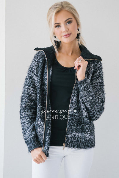 Fur Collar Knitted Coat Tops vendor-unknown