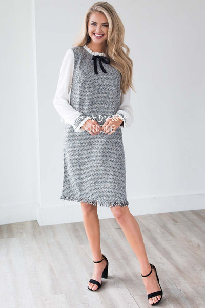 The Izzy Tweed Shift Dress Modest Dresses vendor-unknown