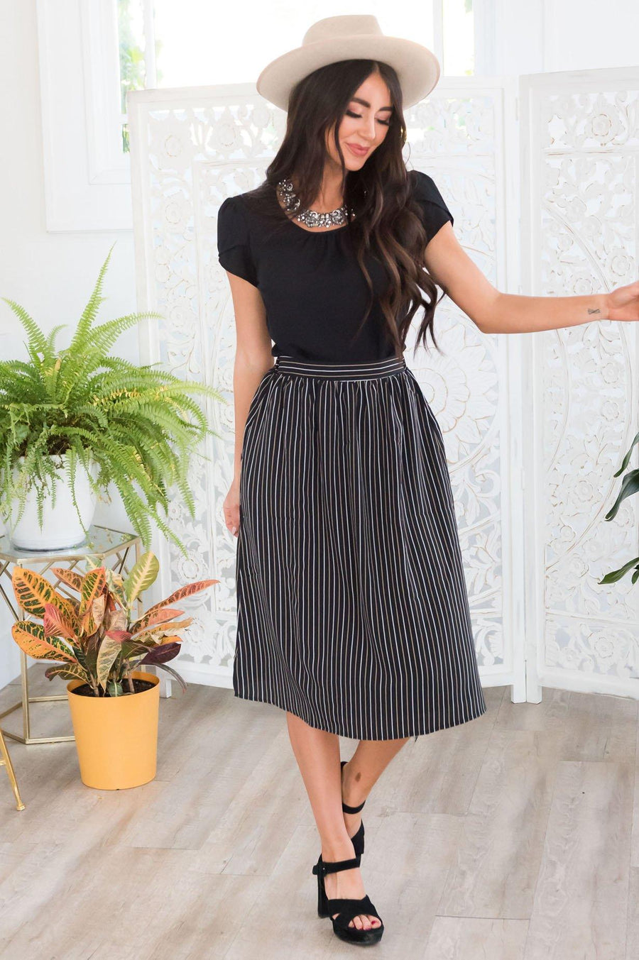 An Elegant Night Pinstripe Skirt Modest Dresses vendor-unknown