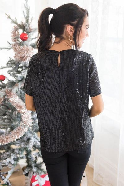 Love Actually Modest Sequin Blouse Tops vendor-unknown