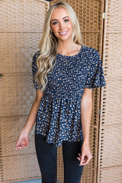 Midnight Blues Modest Blouse Tops vendor-unknown