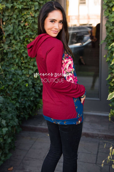Blessed and Beautiful floral Hooded Top Modest Dresses vendor-unknown