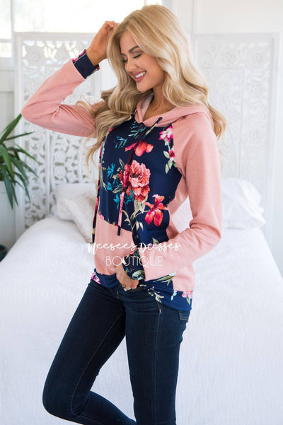Blessed and Beautiful Floral Hoodie Modest Dresses vendor-unknown