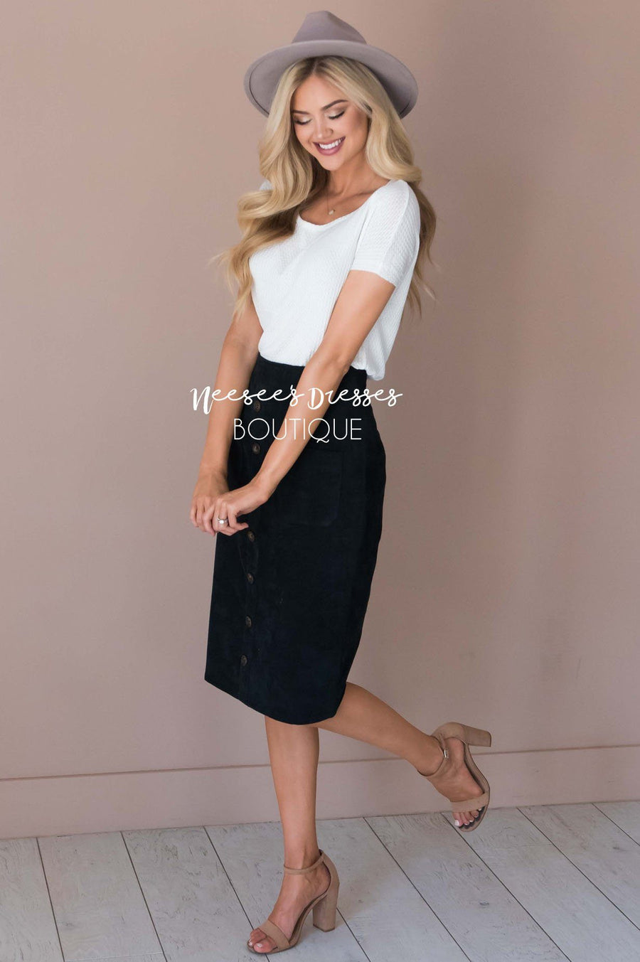Corduroy Button Detail Skirt