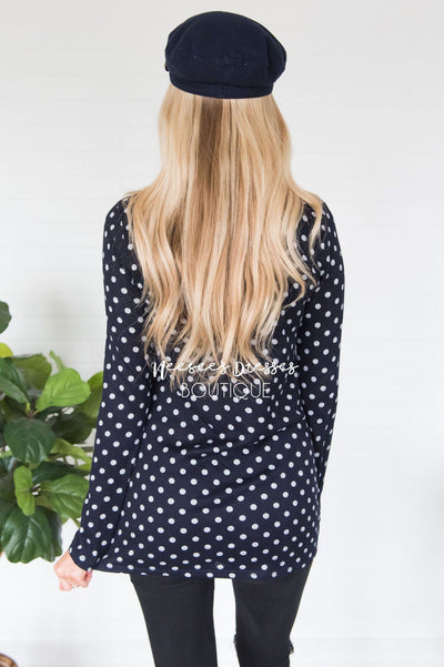 Happy Times Polka Dot Top Modest Dresses vendor-unknown