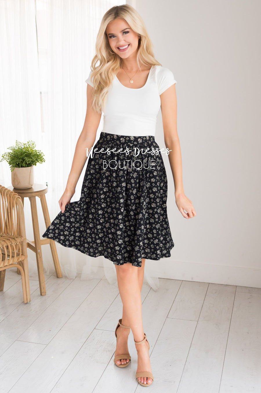 Black & Cream Modest Textured Skirt