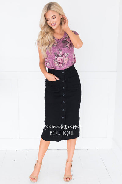 Black Denim Modest Skirt Skirts vendor-unknown