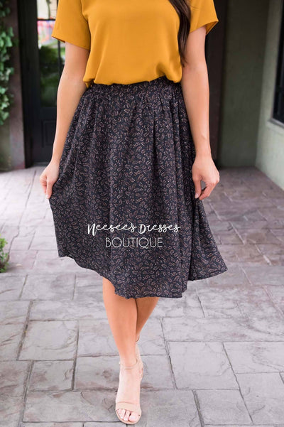 Black Floral Chiffon Skirt Skirts vendor-unknown