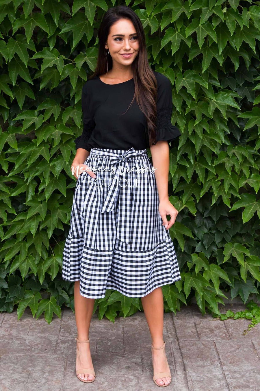 Girls Day Out Gingham skirt Modest Dresses vendor-unknown