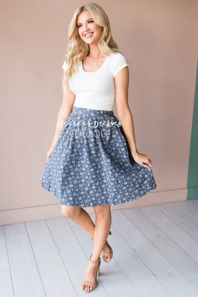 Slate Blue & Cream Modest Textured Skirt Skirts vendor-unknown