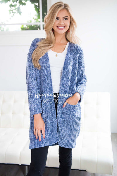 Open Front Chenille Knit Cardigan Tops vendor-unknown