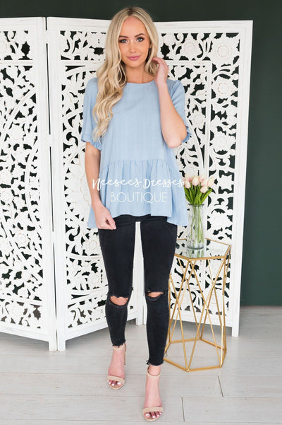 Cool Moves Modest Peplum Blouse Tops vendor-unknown