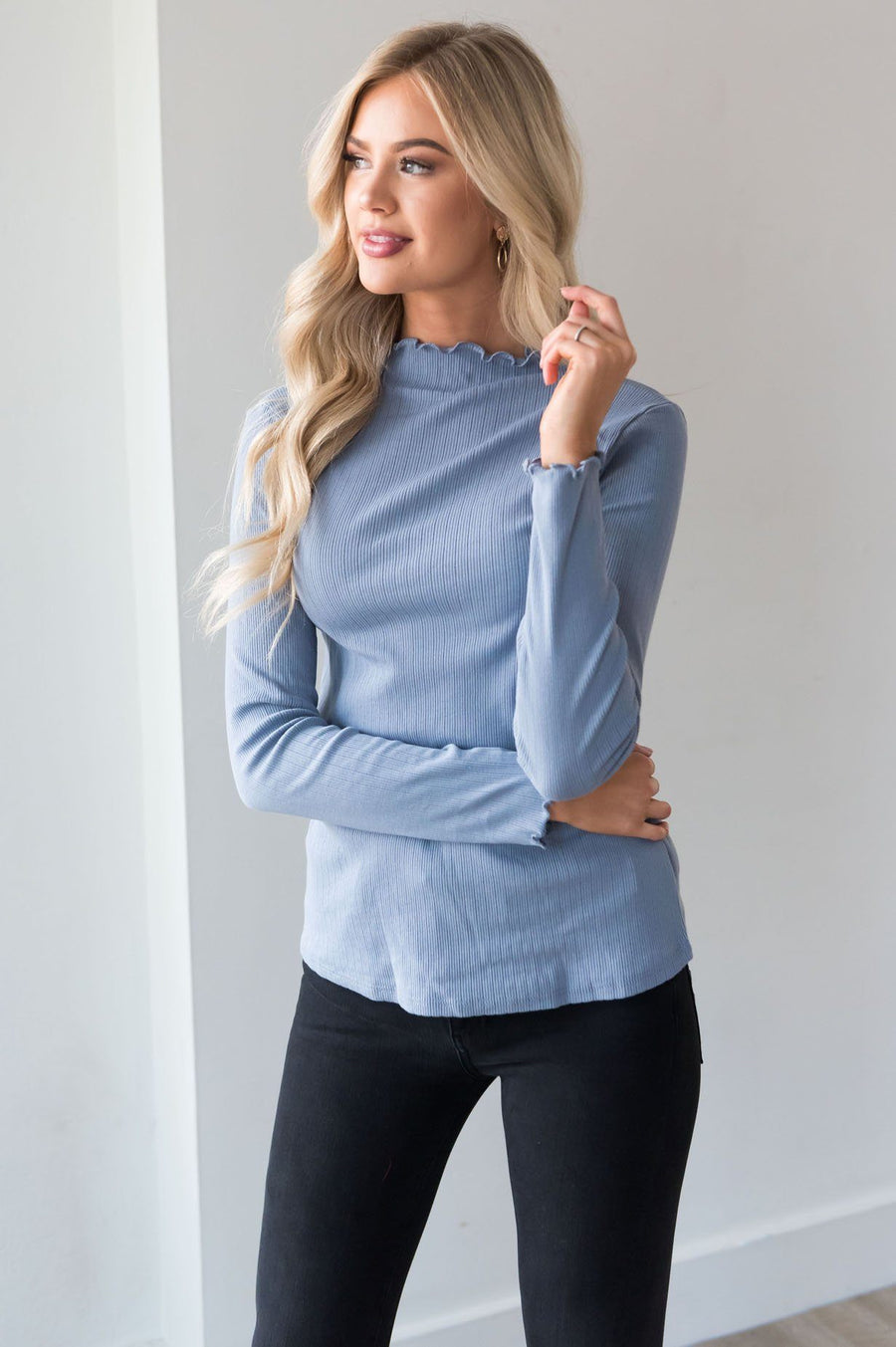 Whenever Needed Ribbed Modest Top