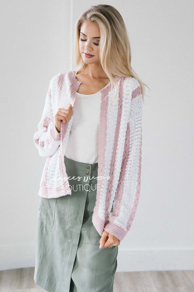 Striped Flower Knit Cardigan Tops vendor-unknown