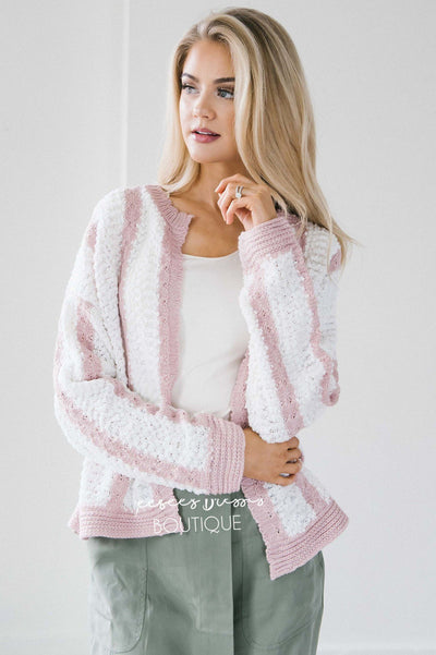 Striped Flower Knit Cardigan